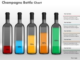 0414 Champagne Bottle Column Chart For Data Diaplay Powerpoint Graph