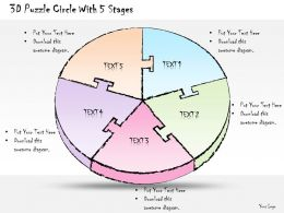 0414 Consulting Diagram 3d Puzzle Circle With 5 Stages Powerpoint Template