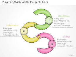 0414 Consulting Diagram Zigzag Path With Three Stages Powerpoint Template
