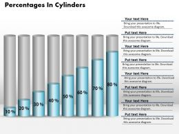 0414 Cylinders Column Chart Of Percentage Growth Powerpoint Graph
