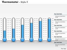 0414 Display of Thermometer Column Chart Powerpoint Graph