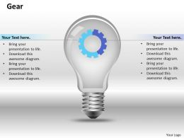 0414 Gear In Bulb With Pie Chart Powerpoint Graph