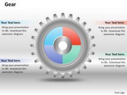 0414 Gears Mechanism Pie Chart Powerpoint Graph