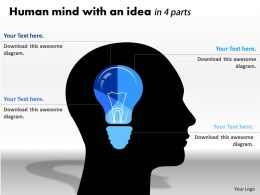 0414 Human Mind With An Idea Pie Chart Powerpoint Graph