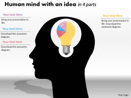 0414 Idea Of Brain Pie Chart Illustration Powerpoint Graph