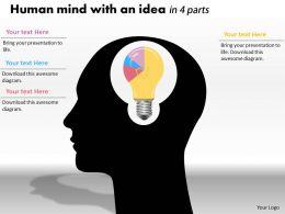 0414 Idea Of Brain Pie Chart Illustration Powerpoint Graph