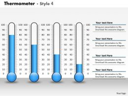 0414 Increasing Flow Thermometer Column Chart Powerpoint Graph