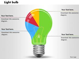 0414 Light Bulb Shapes Pie Chart Powerpoint Graph