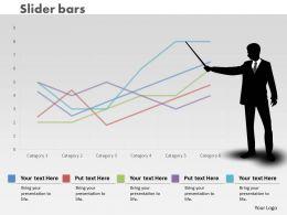 0414 Man Illustrating Slider Line Chart Powerpoint Graph
