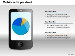 0414 Mobile Display Business Pie Chart Powerpoint Graph