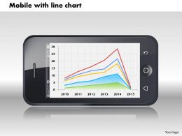 0414 Mobile With Line Chart Display Powerpoint Graph