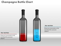 0414 Percentage Data Champagne Bottle Column Chart Powerpoint Graph