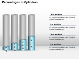 0414 Percentage Growth Cylinders Column Chart Powerpoint Graph
