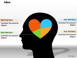 0414 Pie Chart Human Heart Shape Powerpoint Graph