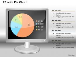0414 Pie Chart PC Monitor Design Powerpoint Graph