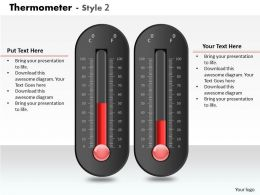 0414 Progress Thermometer Column Chart Powerpoint Graph