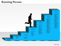 0414 Running Person On Column Chart Powerpoint Graph