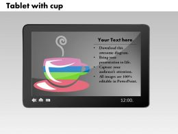0414 Tea Cup Bar Chart Illustration Powerpoint Graph