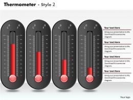 0414 Thermometer 4 Staged Column Chart Powerpoint Graph