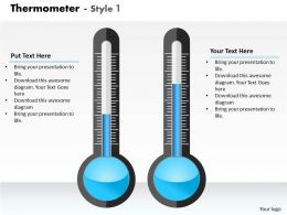 0414 Thermometer Column Chart To Display Data Powerpoint Graph