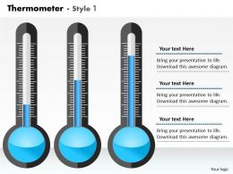 0414 Thermometer Design Column Chart Powerpoint Graph