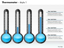 0414 Thermometer Layout Column Chart Powerpoint Graph