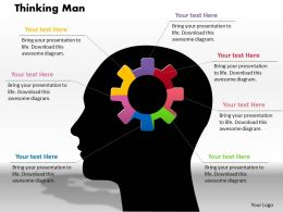 0414 Thinking Man Gear Pie Chart Powerpoint Graph