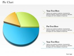 0514 3 Staged Colored Pie Chart Powerpoint Slides