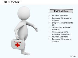 0514 3d Graphic Doctor With First Aid Box Medical Images For Powerpoint