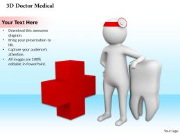 0514 3d Graphic Of Dentist With Red Cross Symbol Medical Images For Powerpoint
