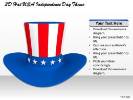 0514 3D Hat USA Independence Day Theme Image Graphics for PowerPoint
