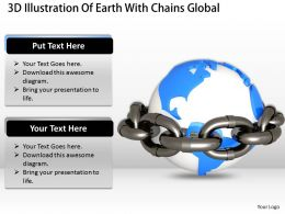 0514 3D Illustration Of Earth With Chains Global Environment Image Graphics For Powerpoint