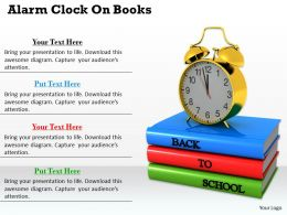 0514 Alarm Clock On Books Image Graphics For Powerpoint