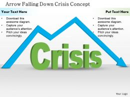 0514 Arrow Falling Down Crisis Concept Powerpoint Presentation