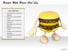 0514 Burger With Strong Arms And Legs Image Graphics For Powerpoint