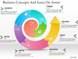 0514 Business Concepts And Icons On Arrow Powerpoint Presentation