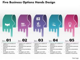 0514 Business Consulting Diagram Five Business Options Hands Design PowerPoint Slide Template