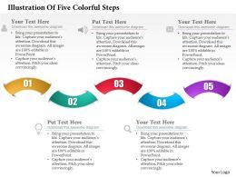 0514 Business Consulting Diagram Illustration Of Five Colorful Steps PowerPoint Slide Template