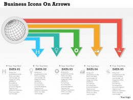 0514 Business Icons On Arrows Powerpoint Presentation