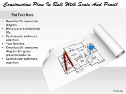 0514 Construction Plan With Scale And Pencil Image Graphics For Powerpoint