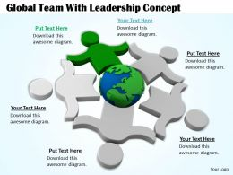 0514 Global Team With Leadership Concept Image Graphics For Powerpoint