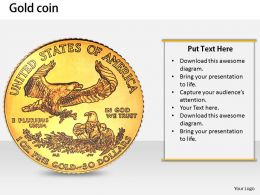 0514 Gold Eagle Coin Of America Image Graphics for PowerPoint