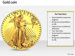 0514 Gold Liberty Head Coin Image Graphics for PowerPoint