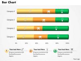 0514 Green And Golden Linear Data Driven Bar Chart Powerpoint Slides