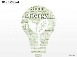 0514 Green Energy Word Cloud Powerpoint Slide Template
