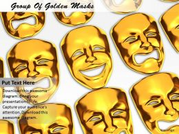 0514 Group Of Golden Masks Image Graphics For Powerpoint