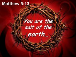 0514 Matthew 513 The Salt Of The Earth Powerpoint Church Sermon