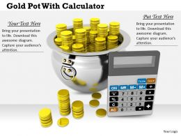 0514 Money Pot With Calculator Image Graphics For Powerpoint