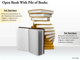 0514 Open Book With Pile Of Books Image Graphics For Powerpoint