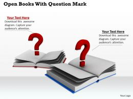 0514 Open Books With Question Marks Image Graphics For Powerpoint